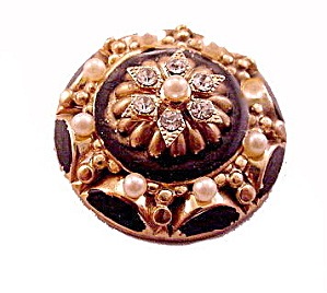 Vintage Black & Faux Pearl with Stones Round Pin (Image1)
