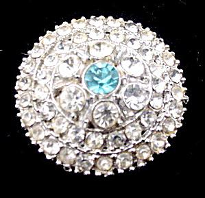 Vintage Round White & Blue Rhinestones Brooch (Image1)