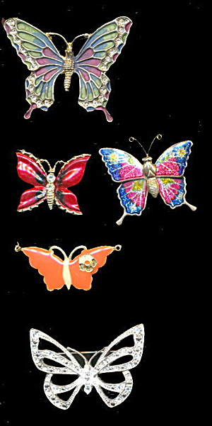 5 Lovely Metal Butterfly /moth Pins & Pendants