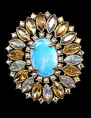 "Vintage N R Blue/Aqua Aurora Borealis 3""  Brooch (Image1)"