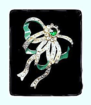 "Old 2 1/2"" Green & White Rhinestone Ribbon Brooch (Image1)"