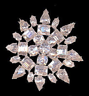 "2 3/4"" Rhinestone Flower Brooch - Old (Image1)"