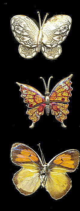 3 Vintage Metal Butterfly Brooches/pins