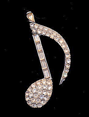 "Vintage Rhinestone 2 1/4"" Clef Music Note Pin (Image1)"