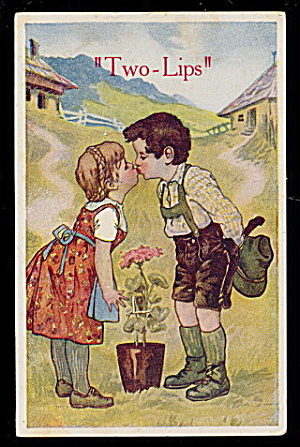 "1910 ""Two-Lips"" Children Kissing Postcard (Image1)"