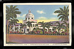 Los Angeles, CA, King�s Tropical Inn 1940s Postcard (Image1)