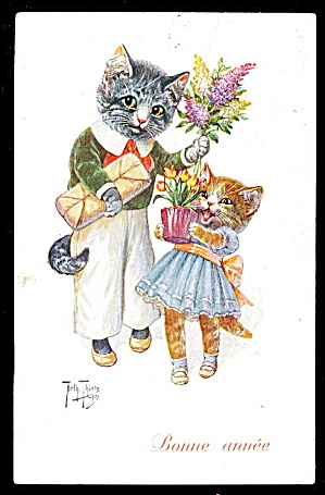 1912 Arthur Thiele Cat With Flowers Tsn Postcard