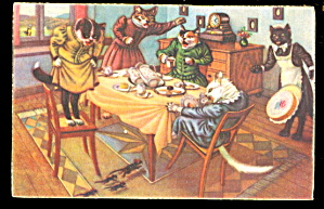 Mainzer Postcard Mouse Scare Dressed Cats By Max Kunzli