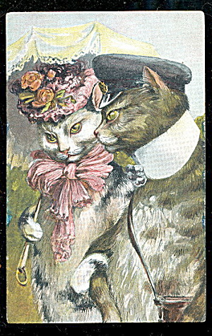 Dressed Cats Out On The Town German 1908 Postcard