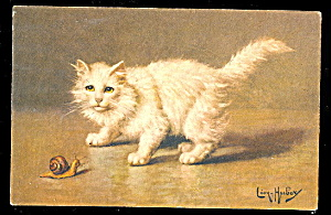 1907 Leon Huber Cat With Snail Postcard