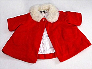Vintage Chatty Cathy Velvet Coat With Fur Collar