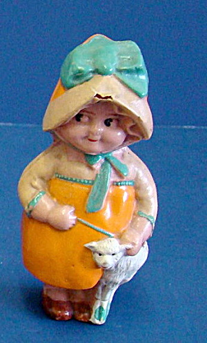 "1920s Celluloid 3 1/2"" Little Bo Peep w Lamb Girl (Image1)"