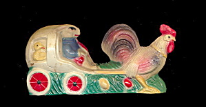 1920s Rabbit Riding Rooster Coach Easter Celluloid Toy (Image1)