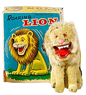 1950s Japan Alps Mechanical Roaring Lion In Box