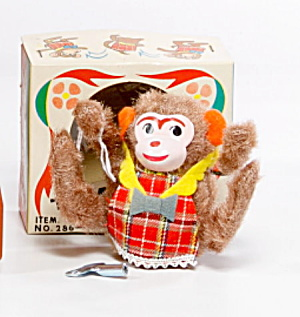 1950s Japan Windup Yone Tumbling Monkey In Box