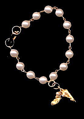 Lovely Faux Pearl with Ballerina Shoes Bracelet (Image1)