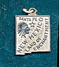 Sterling Silver Santa Fe New Mexico Charm ca 1950s (Image1)