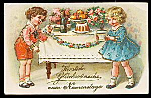 Children Gel 1910 European Herzlicke Postcard (Image1)