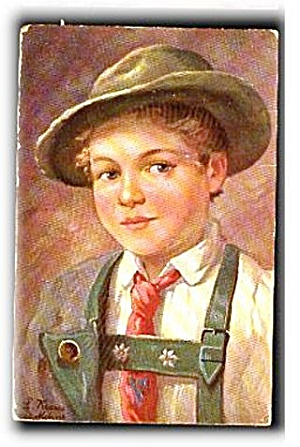 L Kraus Artist German Child 1908 Postcard (Image1)