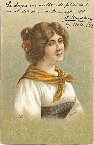 Girl with Bandanna 1906 Postcard (Image1)