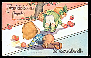 'Forbidden Fruit'; 1907 F A MOSS Children Postcard (Image1)