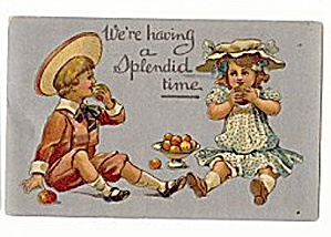 'We're Having a Splendid Time' 1911 Children Postcard (Image1)