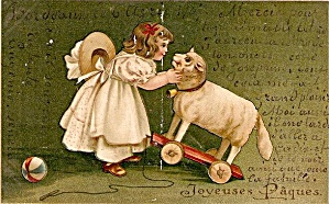 Girl with Lamb/Sheep Pull Toy 1907 Postcard (Image1)