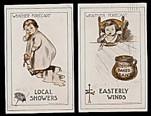 2 'Weather Forecast' Series Children 1910 Postcards (Image1)