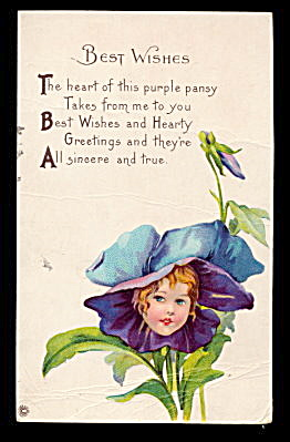 1907 Pansy Flower Girl Fantasy Postcard (Image1)