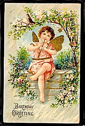 Lovely Child Angel Playing Flute Birthday Postcard (Image1)