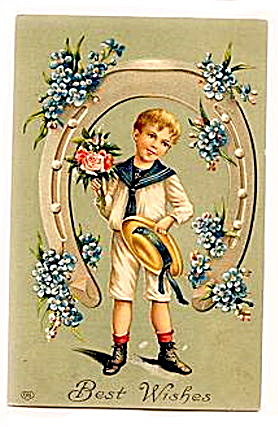 1907 Boy in Horseshoe 'Best Wishes' EAS Postcard (Image1)