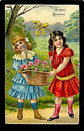 Gorgeous 1907 Girls 'Kindest Regards' Postcard (Image1)