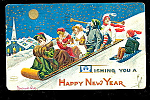 1908 Bernhardt Wall New Years Sledding Postcard