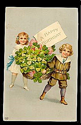 Lovely EAS Children Carrying Basket 1911 Postcard (Image1)