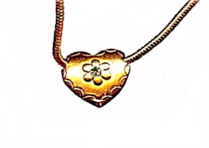"Lovely 15"" Goldtone Choker Necklace with Heart (Image1)"