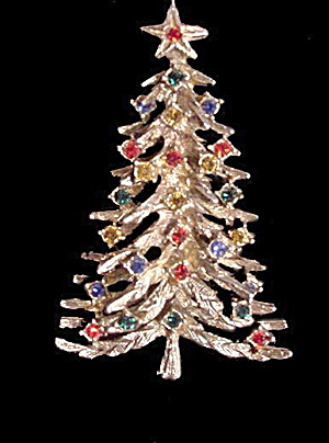 1940s Goldtone Christmas Tree With Stones Brooch