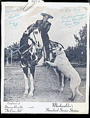 1960 Signed Cisco Kid Duncan Renaldo Photo