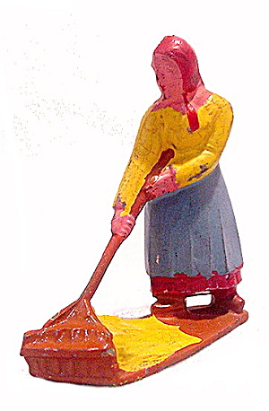 Grey Iron? Farmer Woman Sweeping Lead Figure