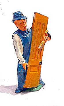 (M151) Manoil Happy Farm Carpenter W Door Figure