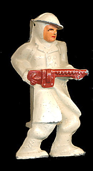(B136) Barclay Lead Figure - Skier In White, No Skis