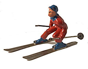 (B190) Barclay Man On Skis In Red & Blue