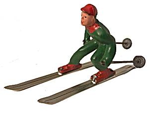 (B190) Barclay Man On Skis In Green