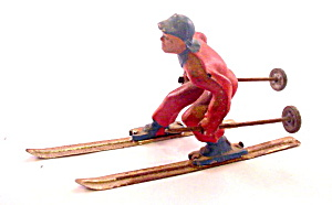 (B190) Barclay Man On Skis In Red