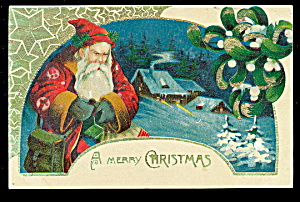1909 Germany Father Christmas W House Postcard