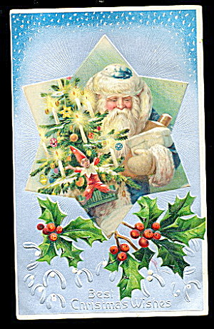Blue Coat Santa Claus With Toys 1907 Postcard