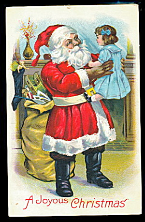 Santa Claus With Girl 1912 Postcard