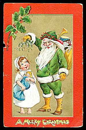 1907 Tucks Green Suit Santa Claus And Girl Postcard