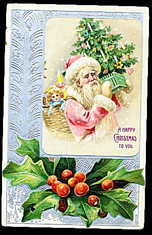 Pink Robe Santa Claus In Holly 1906 Postcard