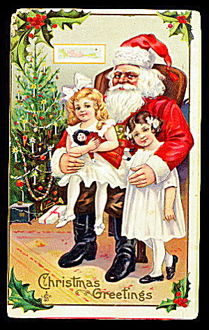 Santa Claus with Children on Lap 1907 Postcard (Image1)