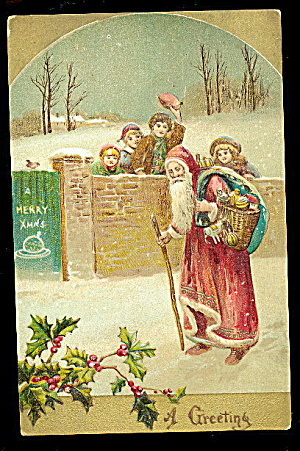 1907 Germany Father Christmas With Toys Postcard